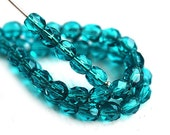 4mm Fire polished Very Dark Teal czech glass beads, Teal faceted round spacers - 50Pc - 1992