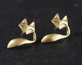 Hand gilded fox & tail stud earrings with sterling backs. Enamel nose. Faux ear jackets. Fox stud earrings for her.
