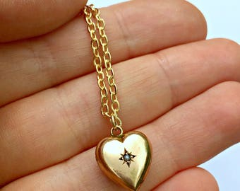 Victorian 9ct Gold Puffy Heart Seed Pearl Necklace