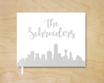 Silver Foil City Skyline Guest Book , Landscape Wedding Guest Book, Your City Guest Book, Reception Book, Landscape City Wedding Guestbook