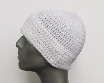 White Slouchy Hat, Crochet Long Beanie, Small or Medium Winter Toboggan