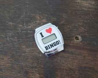 1980s I Love Bingo digital watch face, heart watch, bingo watch