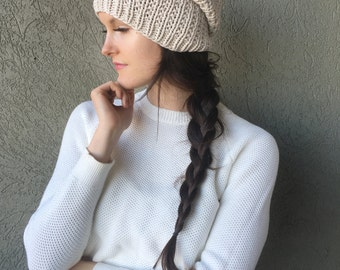 Cream Knitted Slouchy Hat / Cream Ivory Neutral Knitted Slouch Hat / Vegan Yarn
