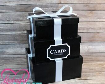 Card Holder 3 Tier Box | Gift Money Box with Card Sign in Black & White | Wedding | Graduation | Birthday | Bridal Shower | Sweet 16