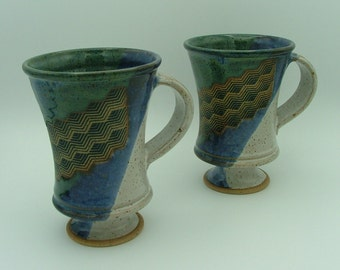 2 Wheel-Thrown Stoneware  Pottery Mugs on Pedestals