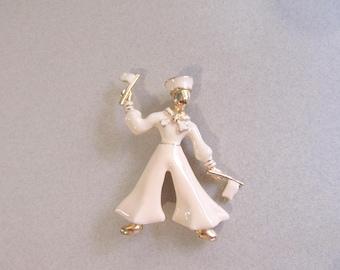 Sailor Pin Brooch Flag Signalman Skivvy Waver US Navy Vintage Costume Jewelry Figural Nautical Military