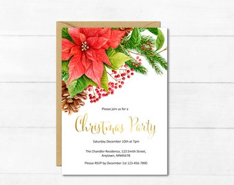 Poinsettia Christmas Party Printable Invite, Printable Christmas Party Invitation, Gold Poinsettia Holiday Party Invitation, Download 206-XM