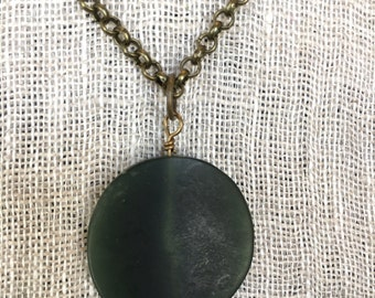 Elegant antique brass and jade necklace