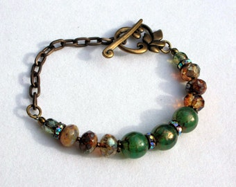 Green and Amber Earth Tones Czech Glass and Brass Chain Bracelet, Beaded Bracelet, Glass Beads Bracelet, Gift for Her, Bohemian Jewelry