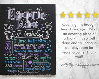 """Favorite Things Poster™ custom first birthday chalkboard style ink drawing on 16""""x20"""" canvas"""