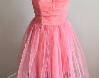 Vintage 1950s Pink Tulle Prom Formal Dress Petite XXS