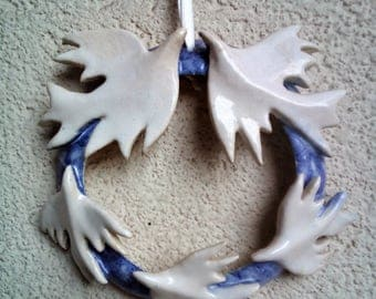 Circle of love. love and life . Indoor Spring Wreath. Blue Wreath with Love Birds    Wedding Favor.  Love birds . White bird flock.