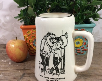 Vintage Curling Beer Stein, White ceramic mug, funny cartoon, 1970's, coffee cup, perfect, ready to gift, Curling Capers by Banks