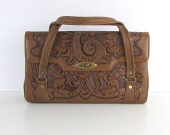 Tooled Leather Purse - Vintage 1960s Large Leather Satchel Handbag