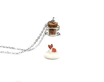 Snow Fox Terrarium Necklace - Animal Bottle Necklace, Snow Winter Woodland - miniature fox in snow in a tiny glass bottle; 2.5cm