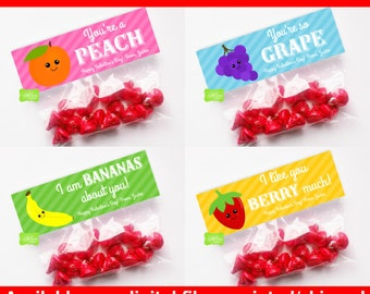 Fruit Valentine Treat Bag Toppers - Treat Bag Toppers - Valentines Day Favor Bags - Personalized - Bags Included - Digital or Printed