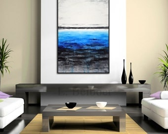 Original abstract painting large contemporary raw art blue white 24 x 36 modern oil painting blue painting wall art artwork by L.Beiboer