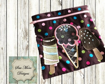 Kids Reusable Zippered Ice Cream Snack Bags  with Vinyl Window