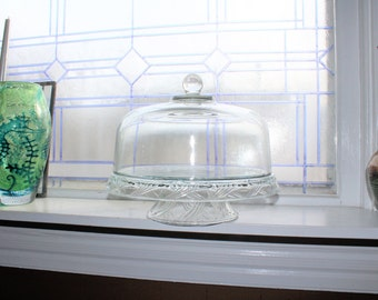 Vintage Glass Cake Stand With Dome Lid
