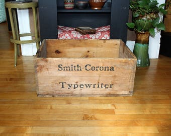 Antique Smith Corona Typewriter Wooden Crate