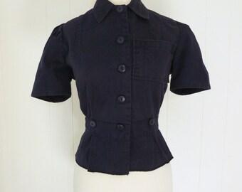 40's Jeep Suit Shirt Women's Workwear Blouse Factory Girl Rosie the Riveter Denim Cotton Twill HBT Uniform