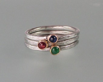 Sapphire, emerald, ruby stacking ring set - set of three rings - hammered sterling silver 14kt gold bezel gemstone rings - rustic boho rings