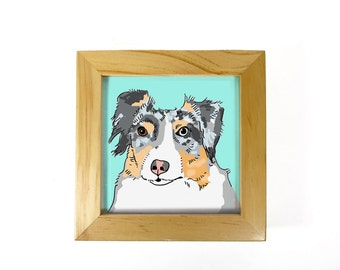 Custom dog portrait in color, framed custom dog portrait, custom pet portrait, print of dog, ready to hang