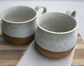 pair soup bowls, soup mugs, large latte cups, speckled stoneware, rustic dinnerware, farmhouse pottery, matte white cup, modern tableware,