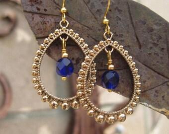 Boho Cobalt Blue Beaded Chandelier Earrings - Blue Earrings - Boho Chic Blue and Gold Earrings