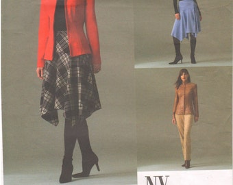 2004 - Vogue 2827 Sewing Pattern Sizes 12/14/16 NY NY Collection Jacket Skirt Pants Suit Fitted Princess Seams Flared Loose