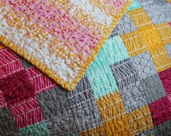 Handmade Baby Girl Quilt, Patchwork Quilt, Crib Quilt, Modern, Small Lap Quilt, wood grain, herringbone, Joel Dewberry fabric,  blanket