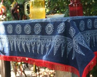 Hmong Indigo Batik Boho Throw Blanket, Picnic Blanket, Sofa Throw Or Tablecloth With Red Fringe  Bohemian Decor Free Worldwide Shipping