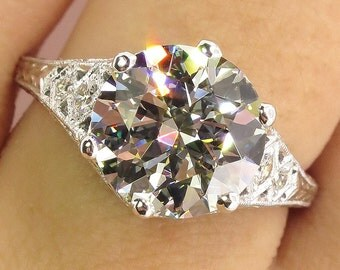 Reserved...Vintage 3ct OLD EUROPEAN Diamond Engagement Wedding Ring