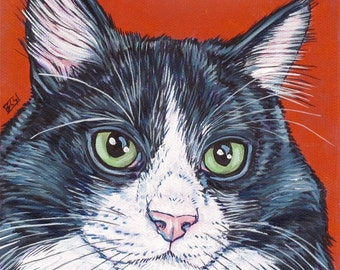 "Custom Cat Portrait Painting on Canvas in Acrylic Paint on Gallery Wrapped 6""x6"" Canvas of Dog, Cat, or Other Pet Ready to Hang OOAK Art"