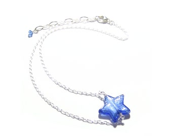 Murano Glass Blue Star Sterling Silver Chain Necklace, Clear Silver Star Necklace, Venetian Italian Jewelry, Brown Star Necklace, 16 Inch