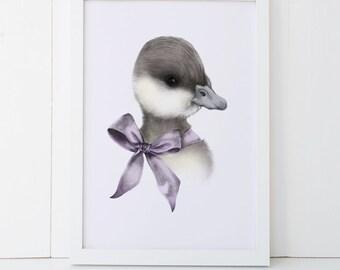 Duckling Print 5x7 Woodland Nursery Print