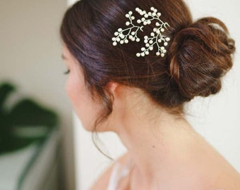 Gypsophila I Delicate Pearl Bridal Hair Pins, Baby's Breath Hair Pins, Pearl Hair Pins, Delicate Bridal Headpiece