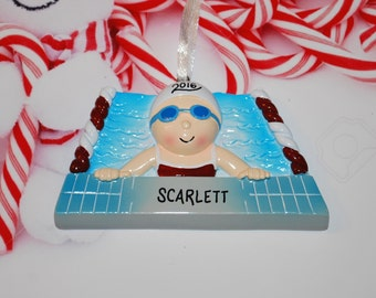 Personalized Female Swimmer Christmas Ornament