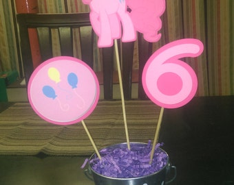 Pinkie Pie Centerpiece, My Little Pony Centerpiece with Number for Birthday Parties