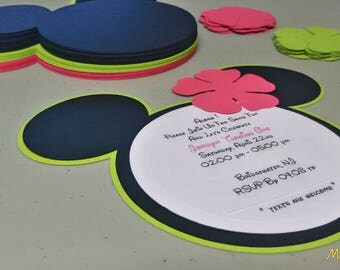 DIY Minnie Mouse Invitations in Lime Green and Pink, Baby Shower Invitation Set, Build Your Own Invitations, Luau Theme Party
