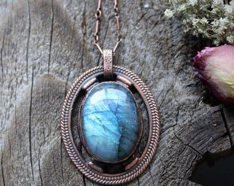 LABRADORITE Stone Necklace • Boho Soul • One Of A Kind • Gypsy • Healing Quartz • Electroformed • Nature Inspired