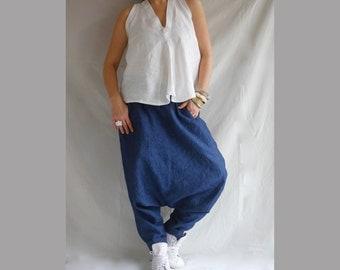 Drop Crotch Bohemian Linen and Denim Pants XXL XXXL Wide Leg Pants Baggy Pants Plus Size Linen Plus Size Trousers Boho Pants Denim Linen