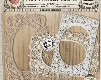 LACE FRAME Clip Arts Digital Picture Frame Diecuts Paper Frame Printable Download for Scrapbooking Photographer Card making Web Blog F30