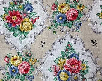 Vintage Fabric, Barkcloth, UK Seller, NOT Reproduction,