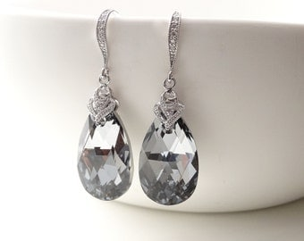 Dark Grey Bridal Earrings Swarovski Silver Night Crystal Bridesmaid Earrings crystal earrings Dark Grey Black Wedding Bridesmaid gifts