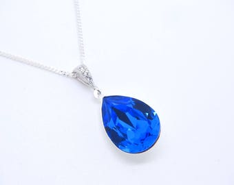 Blue Sapphire swarovski necklace Blue swarovski crystal necklace, Bridal Necklace Wedding necklace, Bridal Jewelry, Bridesmaid necklace