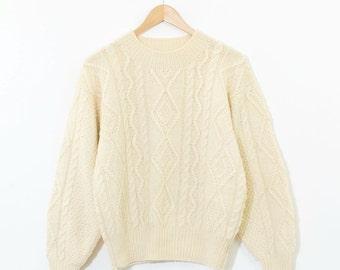 Vintage Ivory Wool Cable Knit Aran Jumper Sweater Small Medium UK 10 12
