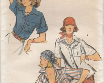 70s Blouse or Over Shirt Pattern Vogue 9539 Size 10