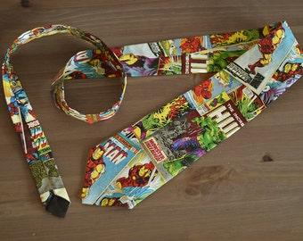 Marvel Tie- Comicbook, superhero, avengers, thor, captain america, necktie