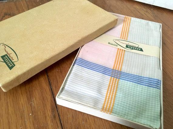 Gentleman's handkerchiefs. Original box of six French Tissgar cotton handkerchiefs